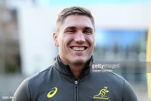 Sean McMahon of the Wallabies smiles during the Australian Wallabies Fan Day at The Crown Promenade River Walk on June 12 2016 in Melbourne Australia