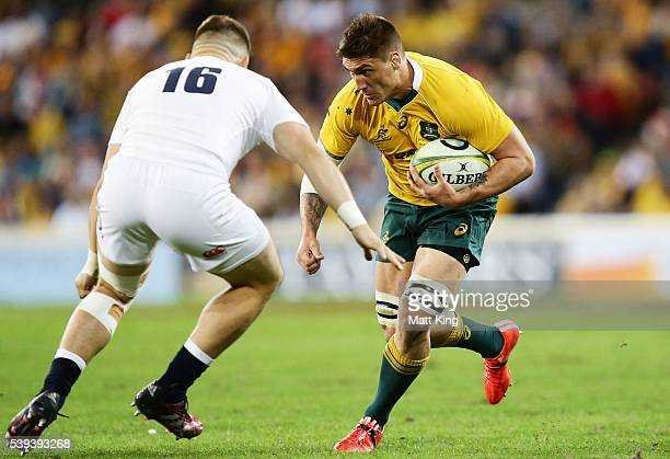 Sean McMahon of the Wallabies takes on the defence during the International Test match between the Australian Wallabies and England at Suncorp...