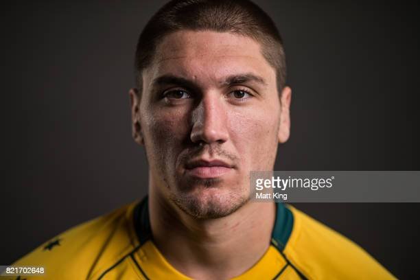 Sean McMahon poses for a headshot during the Australian Wallabies Player Camp at the AIS on April 11 2017 in Canberra Australia