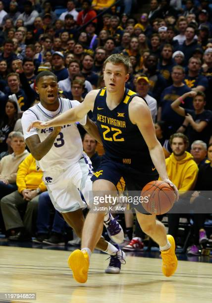 Sean McNeil of the West Virginia Mountaineers drives the net against the Kansas State Wildcats at the WVU Coliseum on February 1 2020 in Morgantown...