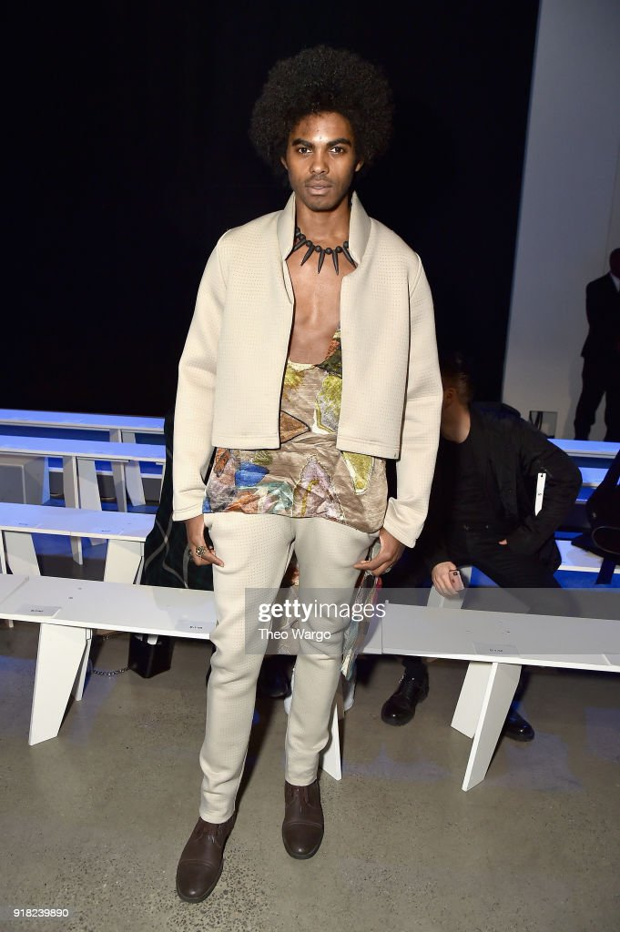 Sean Michael Frazier attends the Laquan Smith front row during New York Fashion Week: The Shows at Gallery I at Spring Studios on February 14, 2018 in New York City.