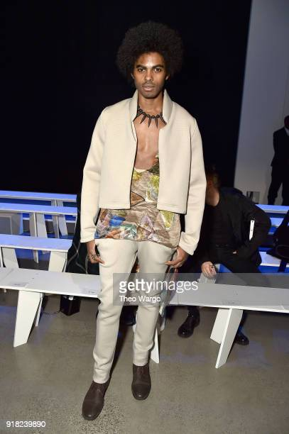 Sean Michael Frazier attends the Laquan Smith front row during New York Fashion Week The Shows at Gallery I at Spring Studios on February 14 2018 in...