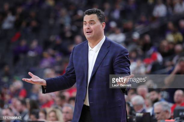Sean Miller head coach directing his team against the Washington Huskies during the first round of the Pac-12 Conference basketball tournament at...
