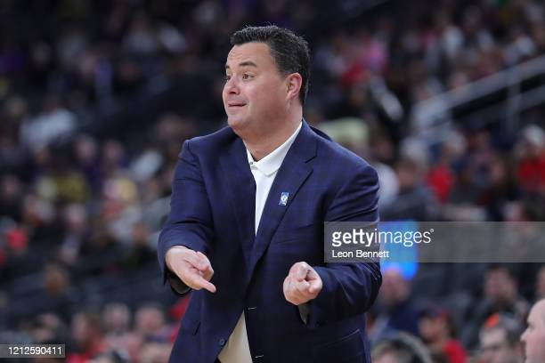 Sean Miller head coach directing his time against the Washington Huskies during the first round of the Pac-12 Conference basketball tournament at...