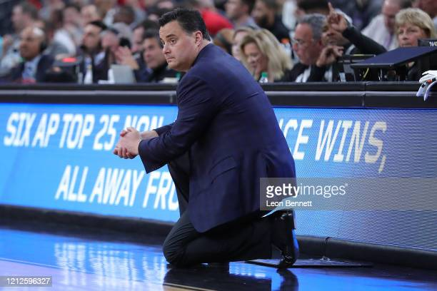 Sean Miller head coach of the Arizona Wildcats looks on against the Washington Huskies during the first round of the Pac-12 Conference basketball...