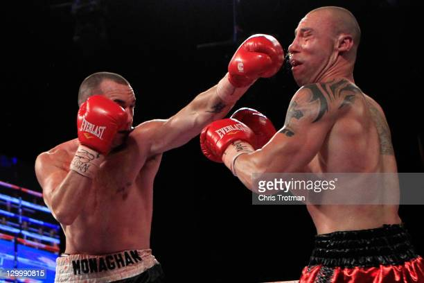 Sean Monaghan fights Anthony Pietantonio during a light heavyweight bout at Madison Square Garden on October 22 2011 in New York City