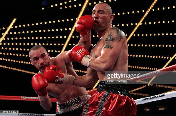 Sean Monaghan fights Anthony Pietantonio during the a light heavyweight bout at Madison Square Garden on October 22 2011 in New York City