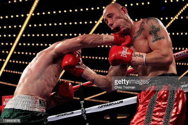 Sean Monaghan punches Anthony Pietantonio during a light heavyweight bout at Madison Square Garden on October 22 2011 in New York City