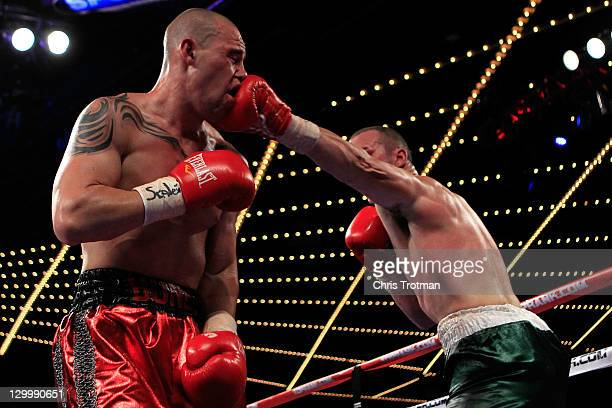 Sean Monaghan punches Anthony Pietantonio during the light heavyweight bout at Madison Square Garden on October 22 2011 in New York City