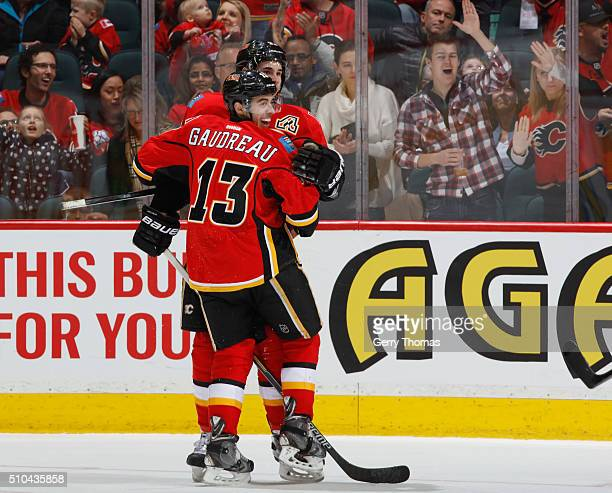 Sean Monahan and Johnny Gaudreau of the Calgary Flames celebrate after a goal against the Anaheim Ducks at Scotiabank Saddledome on February 15 2016...