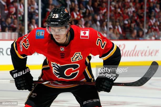 Sean Monahan of the Calgary Flames at face off during an NHL game against the Winnipeg Jets on October 7 2017 at the Scotiabank Saddledome in Calgary...