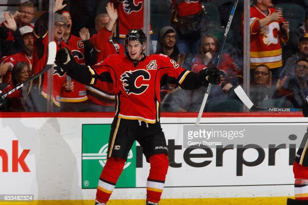Sean Monahan of the Calgary Flames celebrates a goal against the Minnesota Wild during an NHL game on February 1 2017 at the Scotiabank Saddledome in...