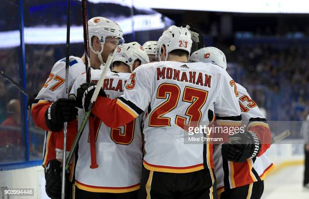 Sean Monahan of the Calgary Flames celebrates a goal during a game against the Tampa Bay Lightning at Amalie Arena on January 11, 2018 in Tampa,...