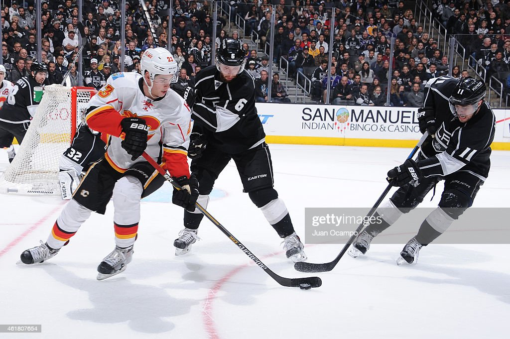 Sean Monahan #23 of the Calgary Flames handles the puck against Jake Muzzin #6 and Anze Kopitar #11 of the Los Angeles Kings at STAPLES Center on January 19, 2015 in Los Angeles, California.