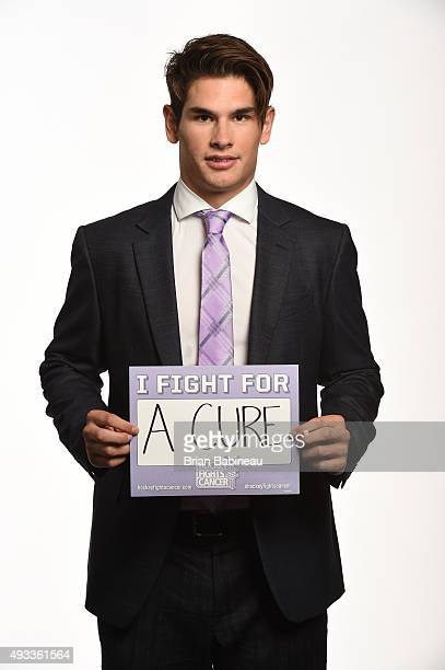 Sean Monahan of the Calgary Flames poses for a portrait at the NHL Player Media Tour at the Ritz Carlton on September 8 2015 in Toronto Ontario