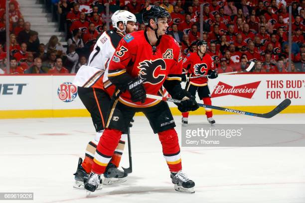 Sean Monahan of the Calgary Flames skates against the Anaheim Ducks during Game One of the Western Conference First Round during the 2017 NHL Stanley...