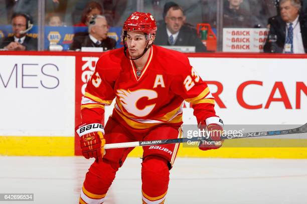 Sean Monahan of the Calgary Flames skates against the Arizona Coyotes during an NHL game on December 31 2016 at the Scotiabank Saddledome in Calgary...