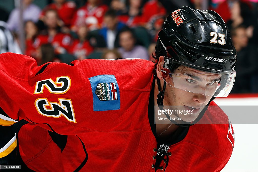 Sean Monahan #23 of the Calgary Flames skates against the Colorado Avalanche at Scotiabank Saddledome on March 23, 2015 in Calgary, Alberta, Canada.