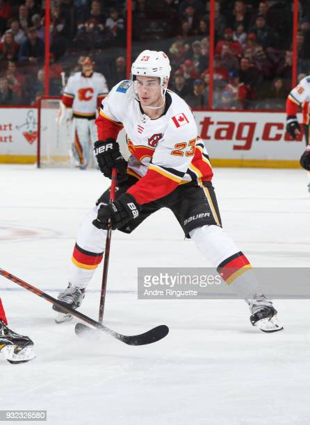 Sean Monahan of the Calgary Flames stickhandles the puck against the Ottawa Senators at Canadian Tire Centre on March 9 2018 in Ottawa Ontario Canada
