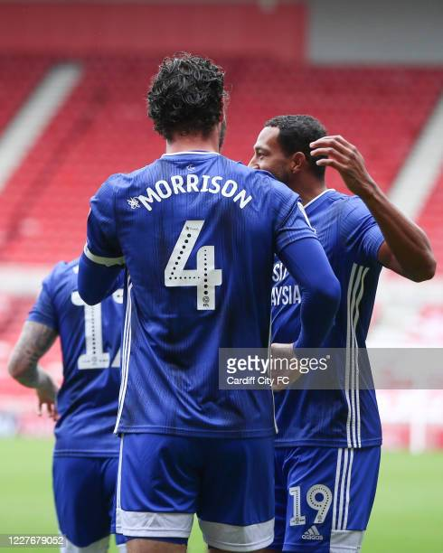 Sean Morrison and Nathaniel MendezLaing of Cardiff City FC during the Sky Bet Championship match between Middlesbrough and Cardiff City at Riverside...