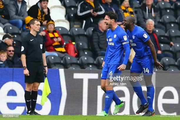 Sean Morrison and Souleymane Bamba of Cardiff City celebrate during the Sky Bet Championship match between Hull City and Cardiff City at KCOM Stadium...