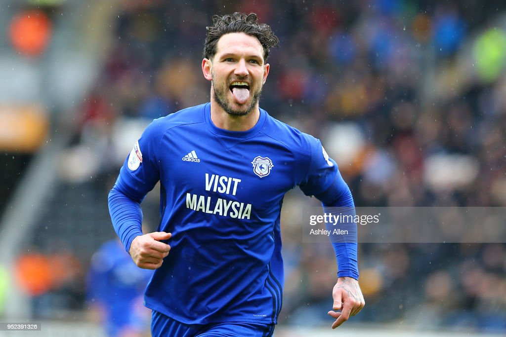 Sean Morrison captain of Cardiff City celebrates scoring his second goal during the Sky Bet Championship match between Hull City and Cardiff City at KCOM Stadium on April 28, 2018 in Hull, England.