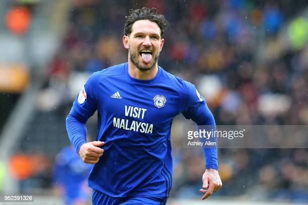 Sean Morrison captain of Cardiff City celebrates scoring his second goal during the Sky Bet Championship match between Hull City and Cardiff City at...