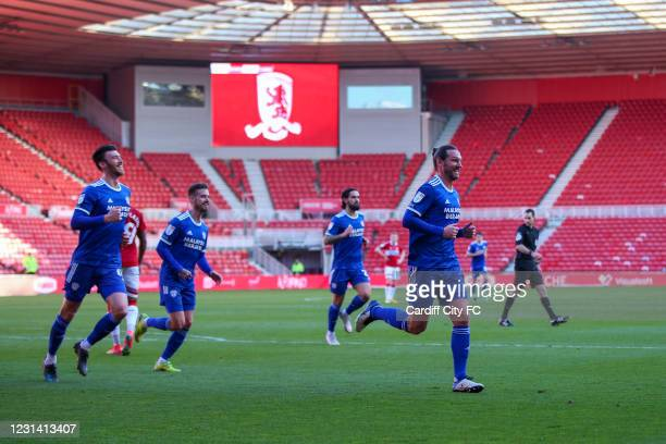 Sean Morrison celebrates scoring the first goal for Cardiff City FC during the Sky Bet Championship match between Middlesbrough and Cardiff City at...