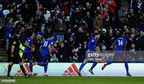 Sean Morrison of Cardiff City celebrates after scoring his sides first goal during the Sky Bet Championship match between Cardiff City and...