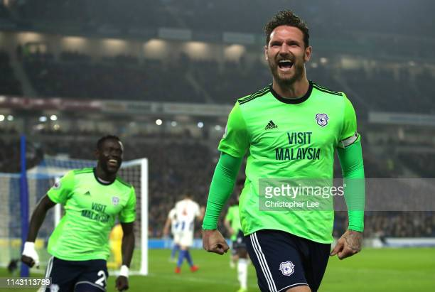 Sean Morrison of Cardiff City celebrates after scoring his team's second goal during the Premier League match between Brighton & Hove Albion and...