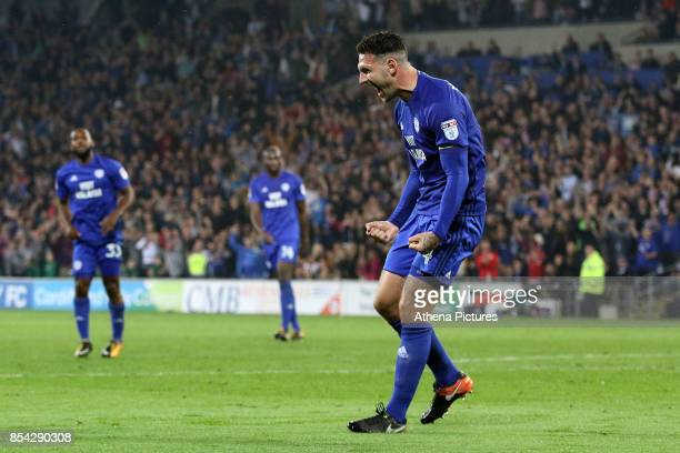 Sean Morrison of Cardiff City celebrates scoring his sides third goal of the match during the Sky Bet Championship match between Cardiff City and...