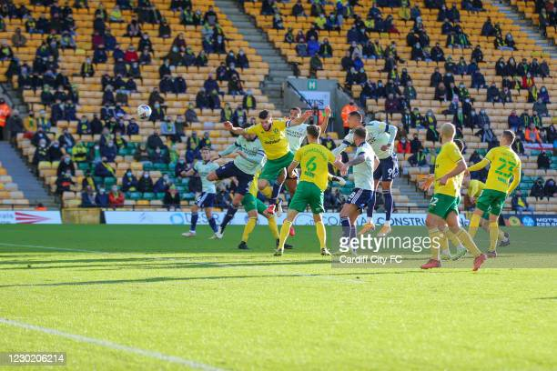 Sean Morrison of Cardiff City FC and Christoph Zimmermann of Norwich City during the Sky Bet Championship match between Norwich City and Cardiff City...