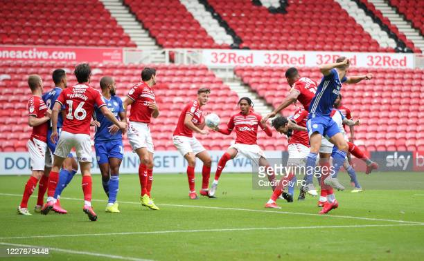 Sean Morrison of Cardiff City FC scores during the Sky Bet Championship match between Middlesbrough and Cardiff City at Riverside Stadium on July 18...