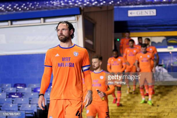 Sean Morrison of Cardiff City leads his side out for the second half during the Sky Bet Championship match between Coventry City and Cardiff City at...
