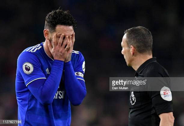 Sean Morrison of Cardiff City reacts to referee Kevin Friend during the Premier League match between Cardiff City and Everton FC at Cardiff City...
