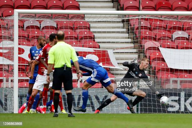 Sean Morrison of Cardiff City scores his sides first goal during the Sky Bet Championship match between Middlesbrough and Cardiff City at Riverside...