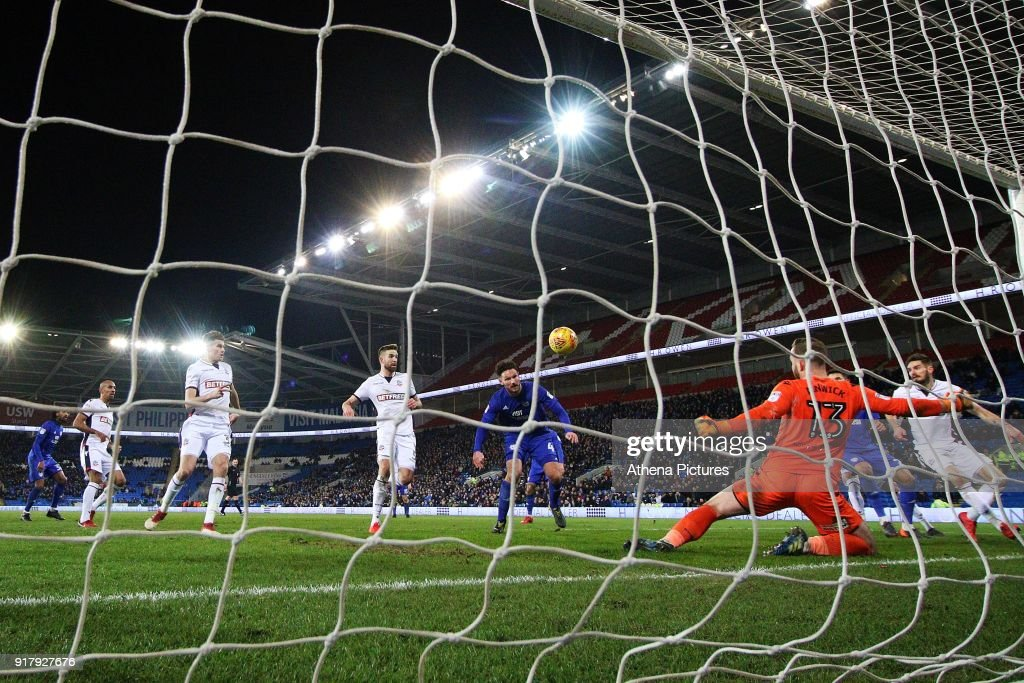 Sean Morrison of Cardiff City scores his sides second goal of the match during the Sky Bet Championship match between Cardiff City and Bolton Wanderers at the Cardiff City Stadium on February 13, 2018 in Cardiff, Wales.
