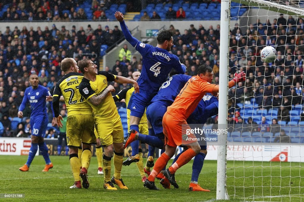 Sean Morrison of Cardiff City scores his sides third goal of the match but it is disallowed during the Sky Bet Championship match between Cardiff City and Burton Albion at the Cardiff City Stadium on March 30, 2018 in Cardiff, Wales.