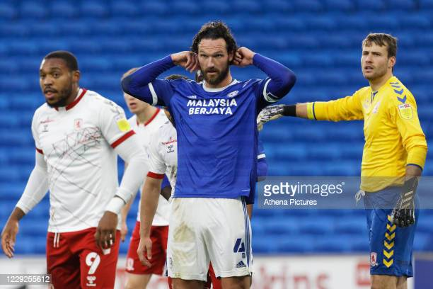 Sean Morrison of Cardiff City waits for a corner kick during the Sky Bet Championship match between Cardiff City and Middlesbrough at the Cardiff...