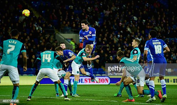 Sean Morrison of Cardiff heads in the opening goal during the Sky Bet Championship match between Cardiff City and Blackburn Rovers at Cardiff City...