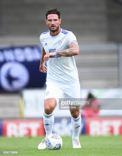 Sean Morrison of Cardiff in action during the preseason friendly match between Burton Albion and Cardiff City at Pirelli Stadium on July 28 2018 in...