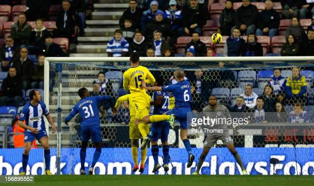 Sean Morrison of Reading scores the opening goal during the Barclays Premier League match between Wigan Athletic and Reading at the DW Stadium on...