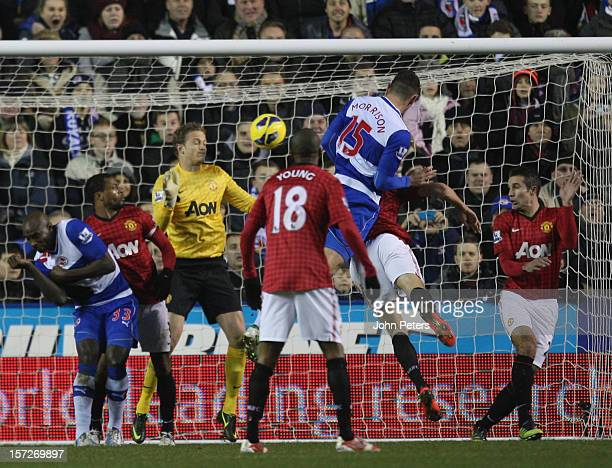 Sean Morrison of Reading scores their third goal during the Barclays Premier League match between Reading and Manchester United at Madejski Stadium...