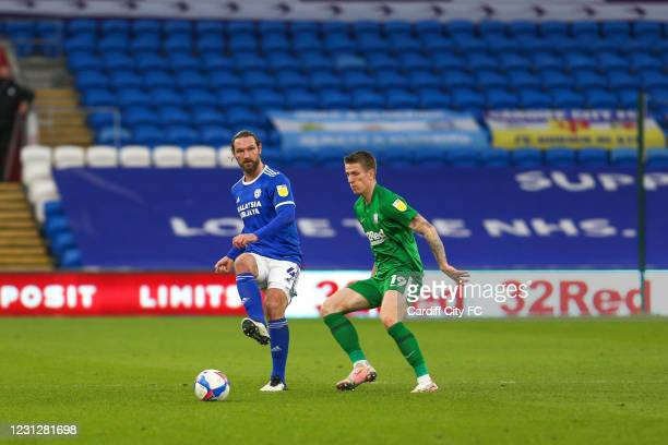 Sean Morrison oil Cardiff City FC and Emil Riis Jakobsen of Preston North End during the Sky Bet Championship match between Cardiff City and Preston...