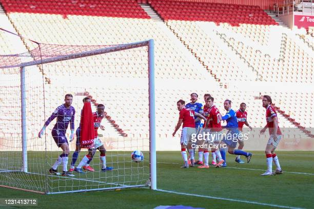 Sean Morrison scores the first goal for Cardiff City FC during the Sky Bet Championship match between Middlesbrough and Cardiff City at Riverside...