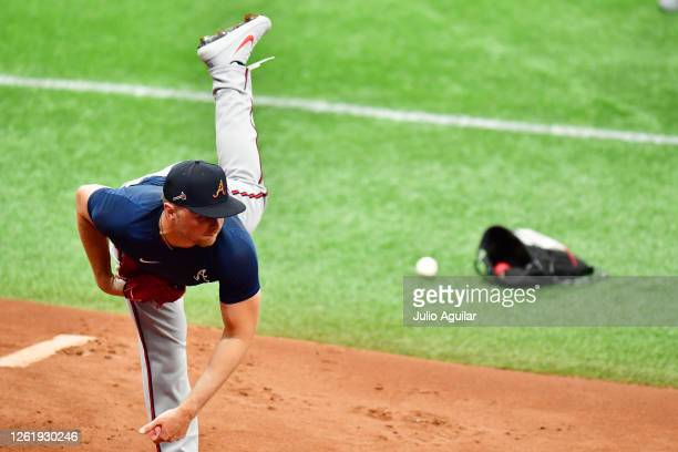Sean Newcomb of the Atlanta Braves delivers a pitch during batting practice before a game against the Tampa Bay Rays at Tropicana Field on July 28,...