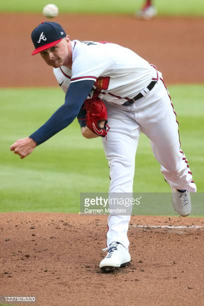 Sean Newcomb of the Atlanta Braves delivers a pitch during the first inning of a game against the Toronto Blue Jays at Truist Park on August 5, 2020...