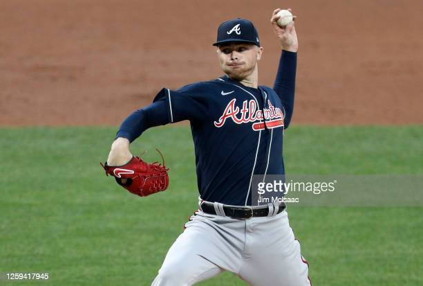 Sean Newcomb of the Atlanta Braves delivers a pitch during the second inning against the New York Mets at Citi Field on July 26, 2020 in New York...