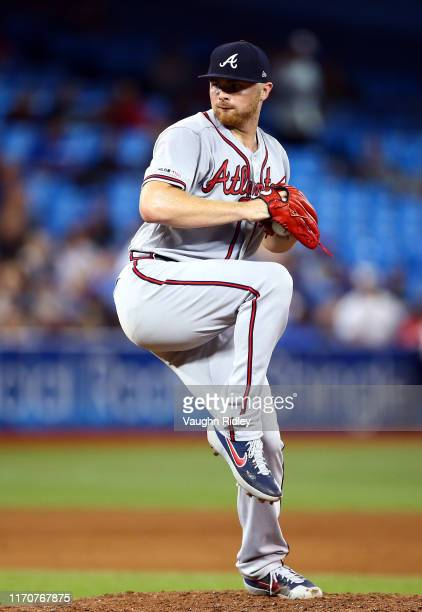 Sean Newcomb of the Atlanta Braves delivers a pitch in the seventh inning of a MLB game against the Toronto Blue Jays at Rogers Centre on August 27,...