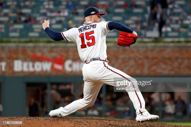 Sean Newcomb of the Atlanta Braves delivers the pitch against the St. Louis Cardinals during the sixth inning in game five of the National League...